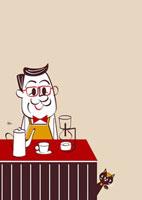 喫茶店のマスターとネコ 02468000015| 写真素材・ストックフォト・画像・イラスト素材|アマナイメージズ