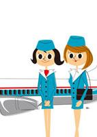飛行機とフライトアテンダント2人