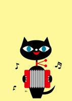 アコーディオンを弾くネコの置物