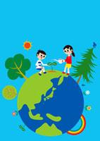 エコロジーアースと男の子 女の子 02468000023| 写真素材・ストックフォト・画像・イラスト素材|アマナイメージズ