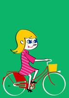 自転車に乗る若い女性 02468000029| 写真素材・ストックフォト・画像・イラスト素材|アマナイメージズ