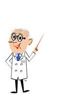 指示棒を持つ白衣の博士
