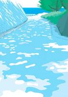 海に続く坂道と木漏れ日 02474000002| 写真素材・ストックフォト・画像・イラスト素材|アマナイメージズ