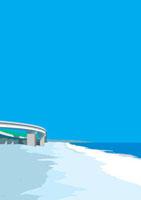 高速道路が架かる海岸と広い青空