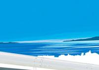 坂道のガードレール越しに見える朝焼けの映る海 02474000016| 写真素材・ストックフォト・画像・イラスト素材|アマナイメージズ