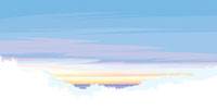 白く映える森の向こうの紫色の朝焼けと海