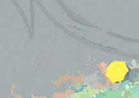 雨の日に校庭の端っこの花壇を見つめる傘をさしてしゃがむ子供 02474000019| 写真素材・ストックフォト・画像・イラスト素材|アマナイメージズ