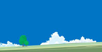 入道雲が見える丘に生える二本の樹木
