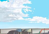 沢山のトラック越しに見える秋の雲 02474000028| 写真素材・ストックフォト・画像・イラスト素材|アマナイメージズ