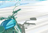 波打ち際に止まったロードバイク