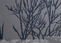 高い壁に映る樹木の影の前を歩く猫