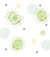 水彩 緑の円と丸と点