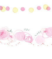 水彩 ピンクの円と丸と点