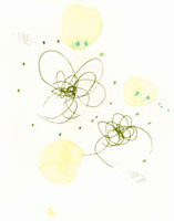 水彩 緑の線と円