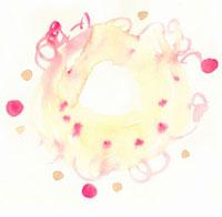 水彩 赤の丸と円