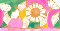 ステンドグラス風の白い花