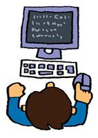 パソコンを操作している男の子