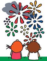 打ち上げ花火を見ている男の子と女の子