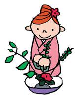 生け花をしている着物を着た女性