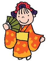 日本舞踊を踊っている着物を着た女の子