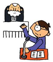 裁判官に向かって弁護している弁護士