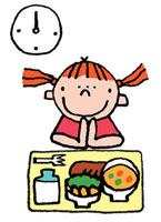学校給食を食べる女の子