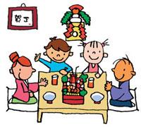 お正月に御節を食べる家族