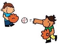 友達とキャッチボールをしている男の子