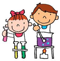 理科の実験をしている男の子と女の子