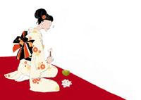 座ってお菓子を食べる女性 02485000002| 写真素材・ストックフォト・画像・イラスト素材|アマナイメージズ