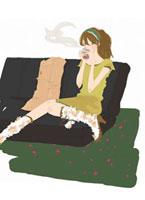 飲み物を飲んでいる女性 02485000005| 写真素材・ストックフォト・画像・イラスト素材|アマナイメージズ