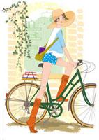 自転車に乗っている女性 02485000010| 写真素材・ストックフォト・画像・イラスト素材|アマナイメージズ