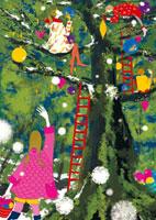 クリスマスの飾り付けをする女性たち 02485000012| 写真素材・ストックフォト・画像・イラスト素材|アマナイメージズ