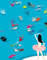 プールに入る女性 02485000013| 写真素材・ストックフォト・画像・イラスト素材|アマナイメージズ