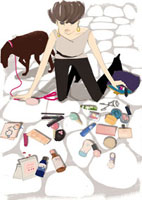 化粧品を拾う女性 02485000014| 写真素材・ストックフォト・画像・イラスト素材|アマナイメージズ