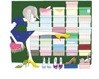 靴を選ぶ女性 02485000015| 写真素材・ストックフォト・画像・イラスト素材|アマナイメージズ