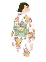 着物を着る女性 02485000017| 写真素材・ストックフォト・画像・イラスト素材|アマナイメージズ