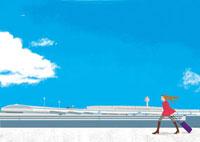 外を歩く女性 02485000019| 写真素材・ストックフォト・画像・イラスト素材|アマナイメージズ