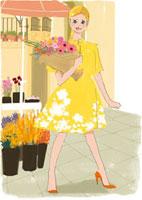 花を買う女性