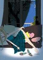 ソファに横になる女性 02485000024| 写真素材・ストックフォト・画像・イラスト素材|アマナイメージズ