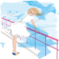 海沿いに立つ女性 02485000029| 写真素材・ストックフォト・画像・イラスト素材|アマナイメージズ