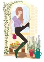 ガーデニングを楽しむ女性 02485000030| 写真素材・ストックフォト・画像・イラスト素材|アマナイメージズ