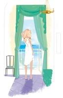 部屋から外を眺める女性 02485000042| 写真素材・ストックフォト・画像・イラスト素材|アマナイメージズ