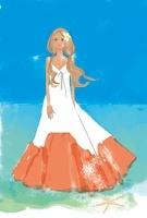 海辺に立つ女性 02485000043| 写真素材・ストックフォト・画像・イラスト素材|アマナイメージズ