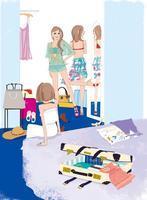 部屋で服を着る女性たち 02485000044| 写真素材・ストックフォト・画像・イラスト素材|アマナイメージズ