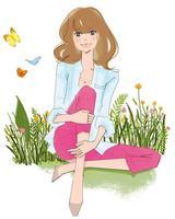 野原に座る女性 02485000046| 写真素材・ストックフォト・画像・イラスト素材|アマナイメージズ