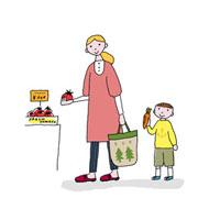 野菜を買う母と息子 02487000001| 写真素材・ストックフォト・画像・イラスト素材|アマナイメージズ