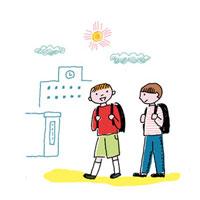 登校する男の子2人 02487000002| 写真素材・ストックフォト・画像・イラスト素材|アマナイメージズ