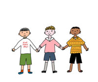 手をつなぐ多人種の男の子3人 02487000008| 写真素材・ストックフォト・画像・イラスト素材|アマナイメージズ
