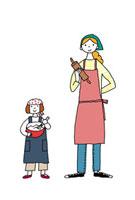 料理をする母と娘 02487000010| 写真素材・ストックフォト・画像・イラスト素材|アマナイメージズ